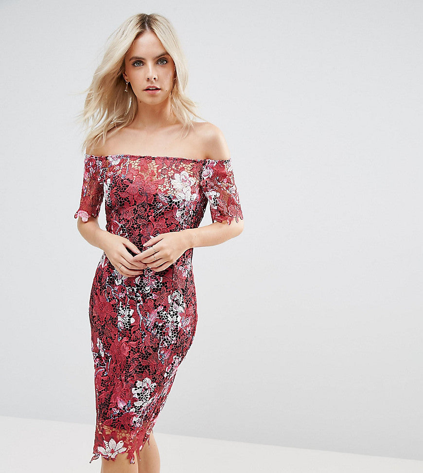 Paper Dolls Petite Bardot Floral Midi Lace Dress - Multi