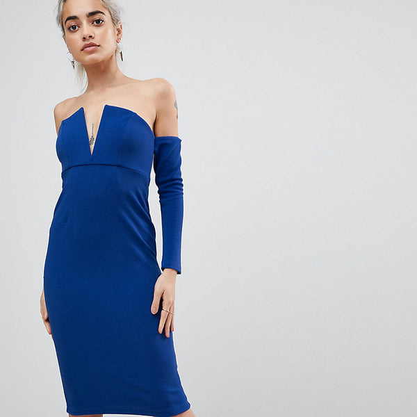 ASOS PEITTE V Bar Bardot Textured Midi Dress - Cobalt