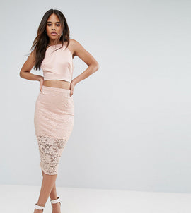 ASOS TALL Lace Pencil Skirt - Nude