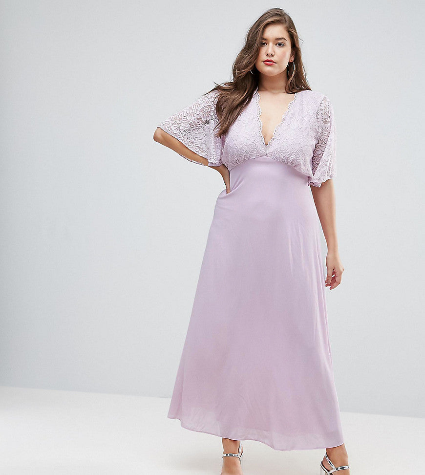 John Zack Plus Open Back Maxi Dress With Fluted Lace Sleeve - Lavender
