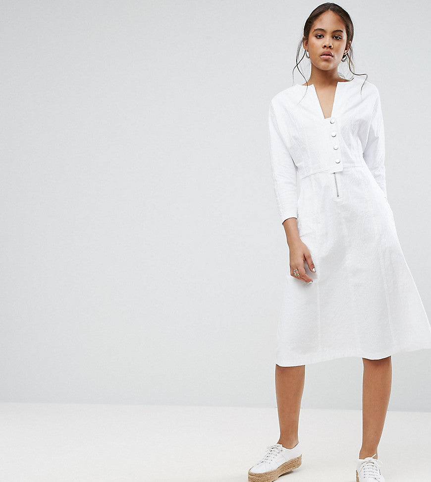 ASOS TALL Midi Dress With Popper Detail - White