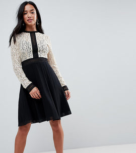 Little Mistress Petite All Over Lace Top Dress With Prom Skater Skirt - Cream/black multi