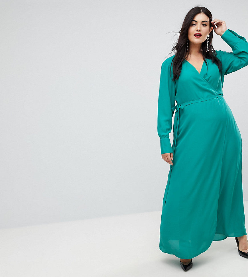 ASOS CURVE Wrap Maxi Tea Dress with Long Sleeve - Green