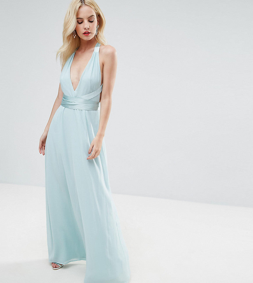 ASOS PETITE Deep Plunge Strap Back Maxi with Satin Tie - Mint