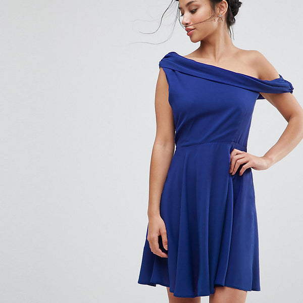 John Zack Petite Drapey One Shoulder Mini Dress - Blue