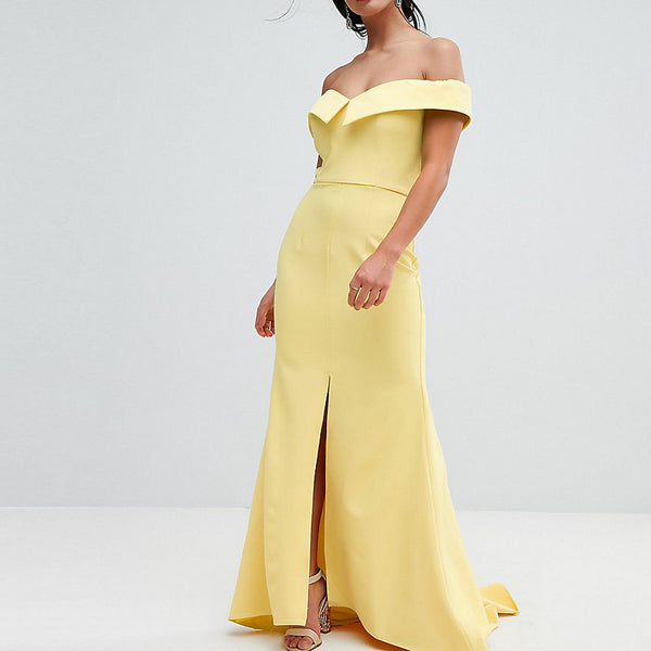 Jarlo Petite Bardot Maxi Dress With Thigh Split And Train Detail - Lemon