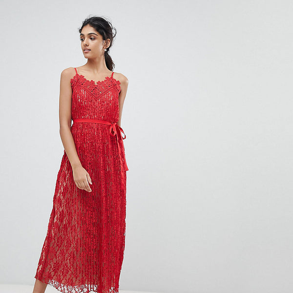 Little Mistress Tall All Over Lace Midaxi Cami Dress - Red