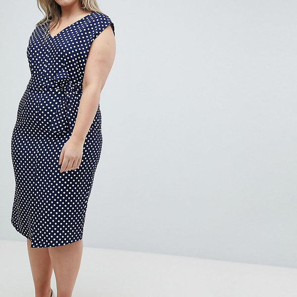 Closet London Plus Wrap Front Pencil Dress In Polka Print - Multi