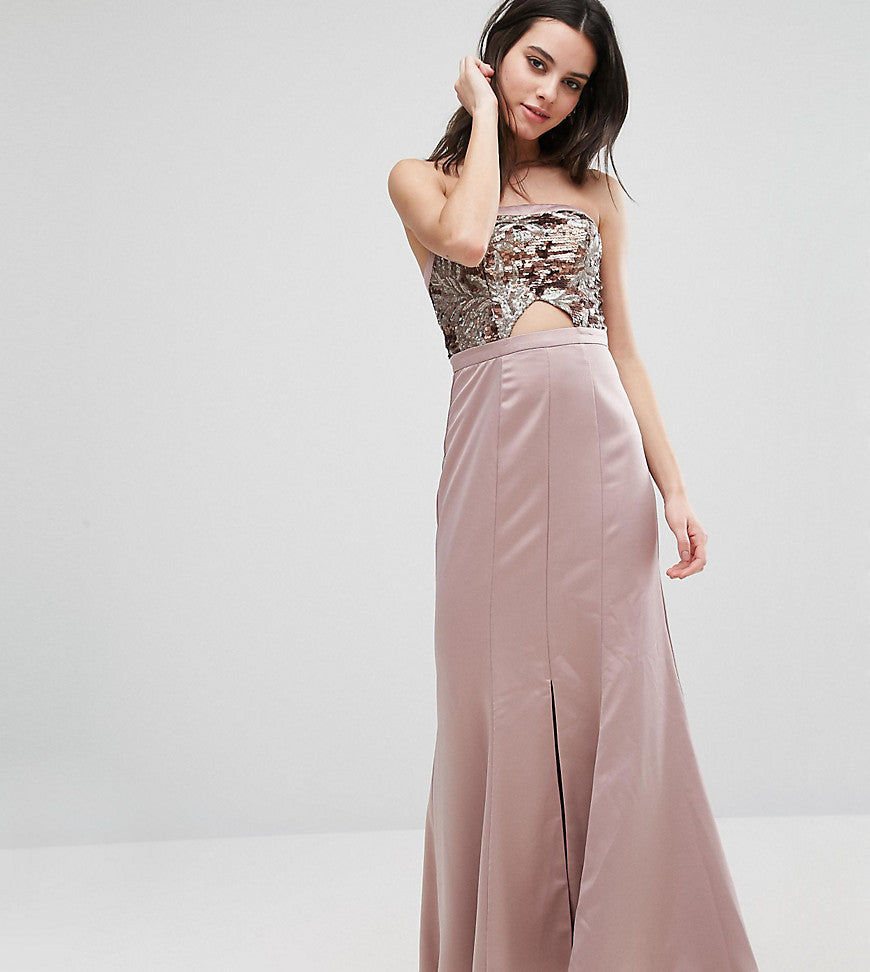 True Decadence Petite Bandeau Maxi Dress With Cutout Bodice And Train Detail - Rose gold