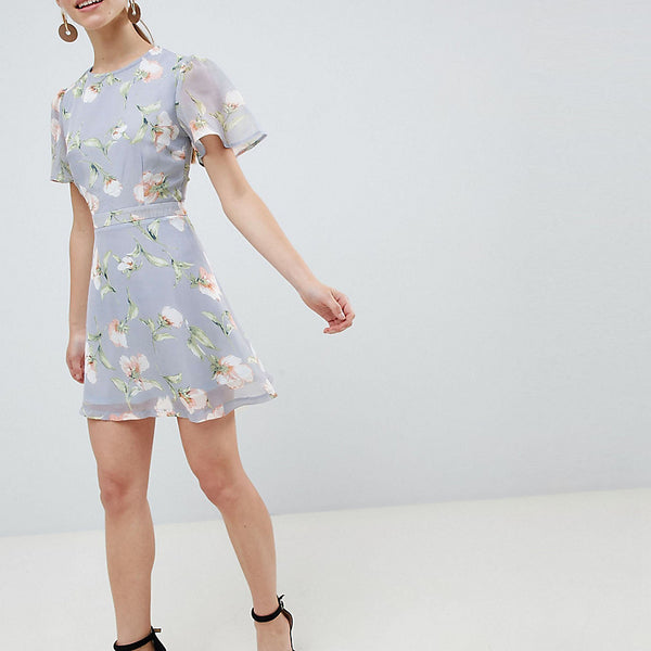 Missguided Petite Chiffon Floral Mini Dress - Blue