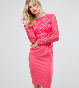 City Goddess Tall Long Sleeve Pencil Midi Dress In Lace - Raspberry (34)