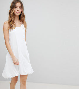 ASOS PETITE Mini Vest Dress with Gathered Hem - White