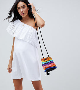 ASOS DESIGN Maternity one shoulder broderie swing sundress - White