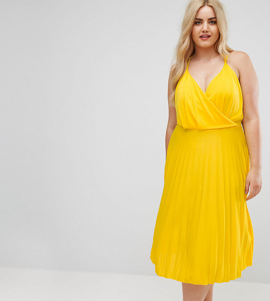 ASOS CURVE Blouson Wrap Midi Dress with Pleated Skirt - Yellow