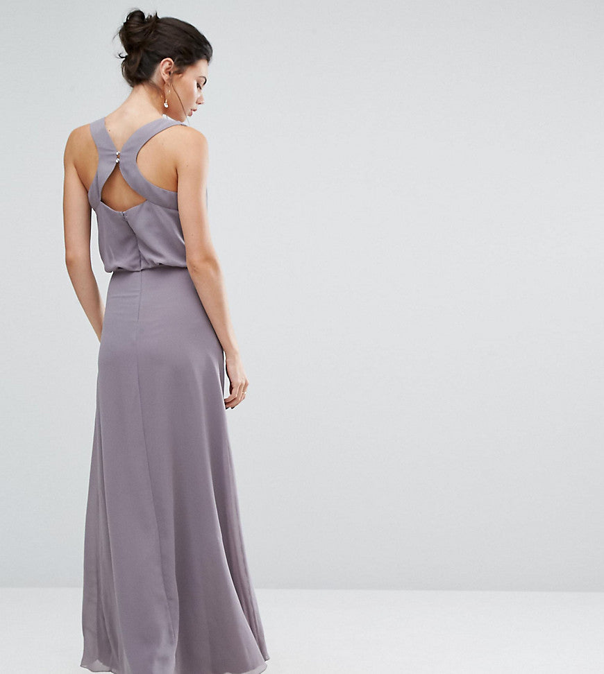 Little Mistress Tall Embellished Maxi Dress With Open Back Detail - Lavender
