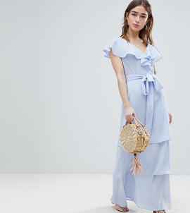 Lost Ink Petite Maxi Dress With Tiered Ruffle Skirt - Light blue
