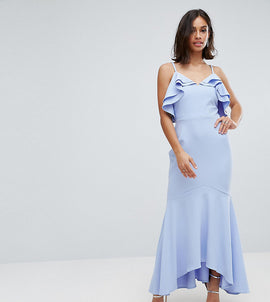 John Zack Petite Ruffle Front Fishtail Maxi Dress With High Low Hem - Pale blue