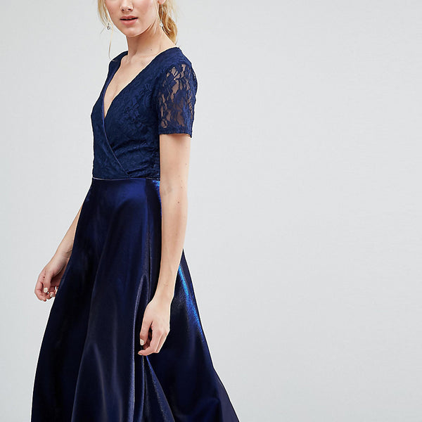 True Decadence Tall Wrap Front Lace Top Midi Prom Dress - Navy