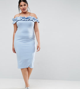 ASOS CURVE Ruched Ruffle Bardot With Seams Dress - Baby blue