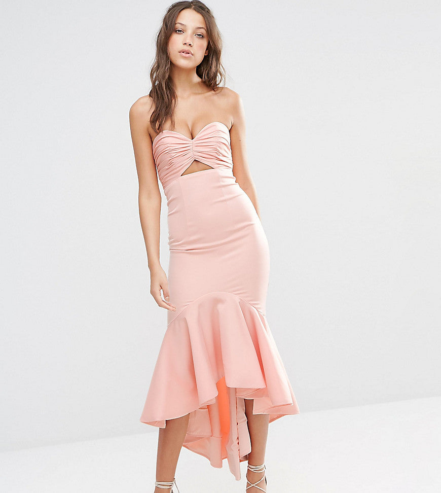 Jarlo Tall Bandeau Cutout Midi Dress With Fishtail Detail - Nude