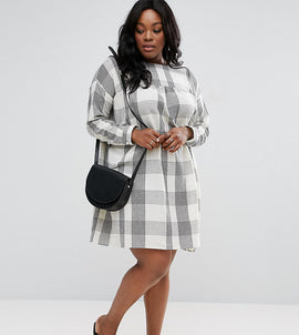 ASOS CURVE Smock Dress In Light Check - Multi