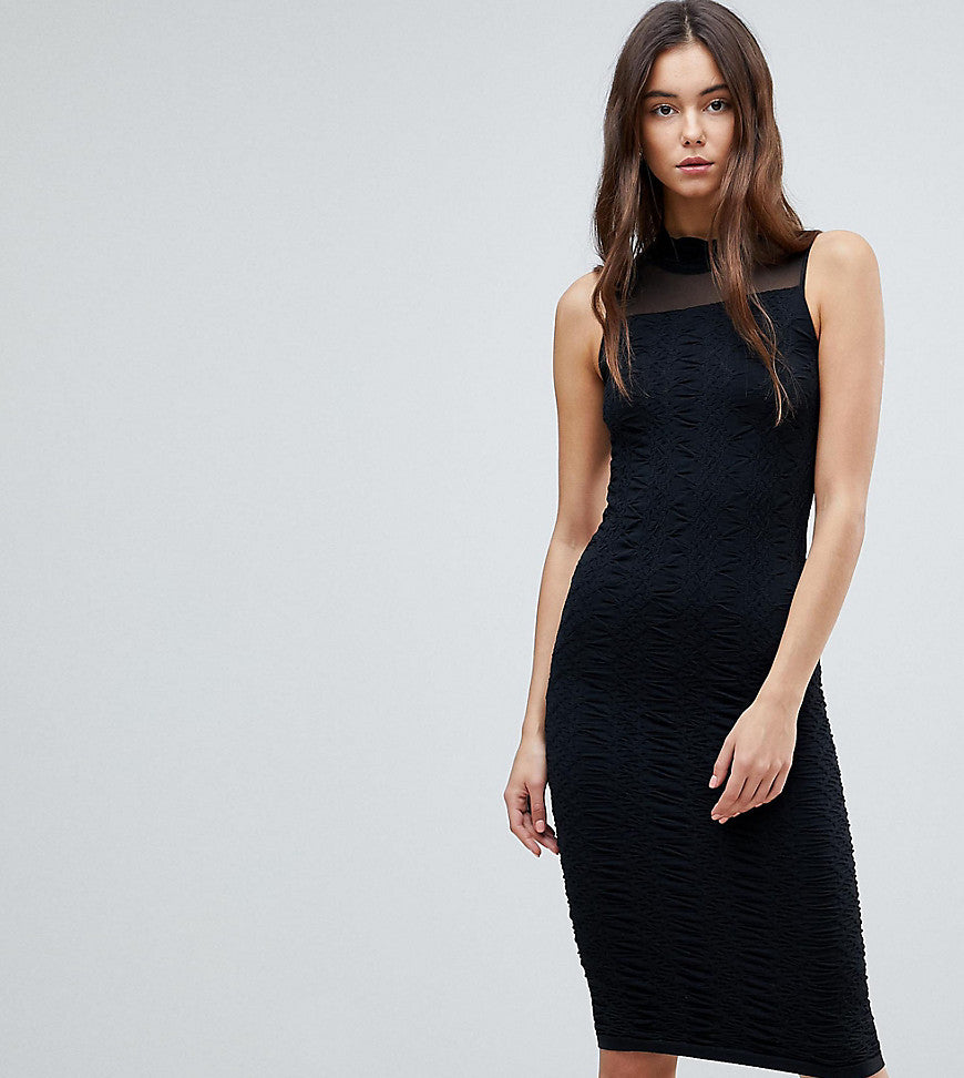 Y.A.S Tall Cilla Textured Jersey With Mesh Evening Dress - Black