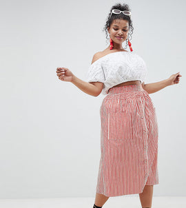 ASOS DESIGN Curve cotton midi skirt with button front in stripe - Red / white