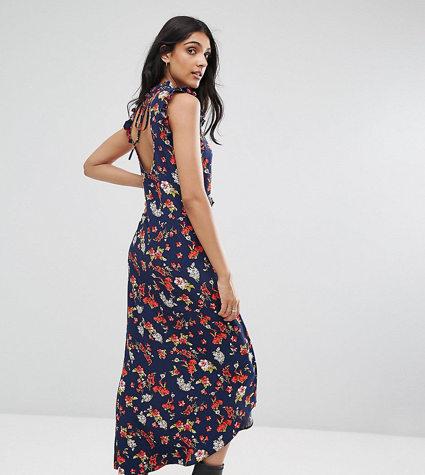 ASOS TALL Maxi Tea Dress with Cut Out Back Detail in Grunge Floral Print - Multi