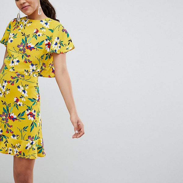 John Zack Tall Floral Tea Dress With Open Back - Yellow multi