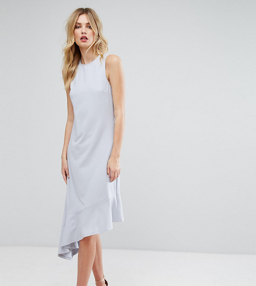 ASOS TALL Drop Hem Midi Dress - Grey