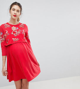 ASOS MATERNITY NURSING Double Layer Skater Dress With Embroidery - Red