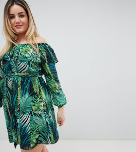 Lovedrobe Tropical Printed Bardot Dress - Tropical print