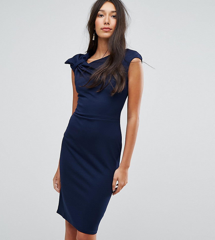 City Goddess Tall Bardot Pencil Dress With Lace Detail - Navy