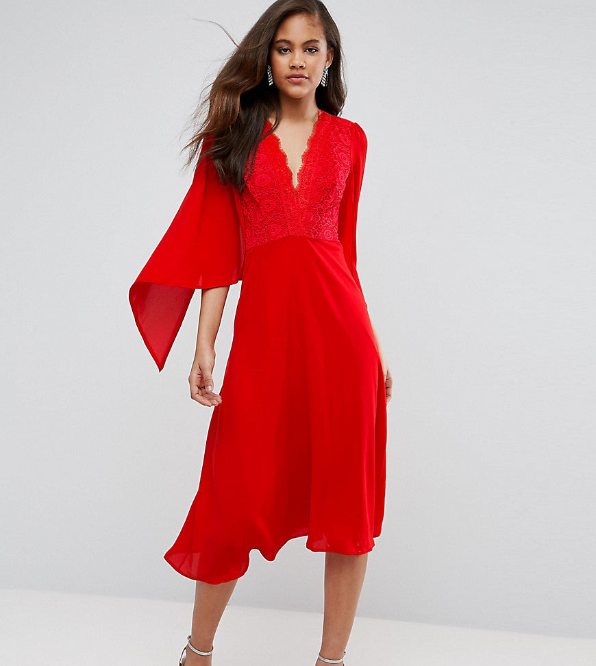 John Zack Tall Lace Panel Midi Skater Dress With Cape Detail - Red