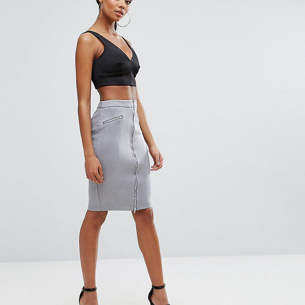 NaaNaa Suedette Pencil Skirt With Zip Detail - Grey