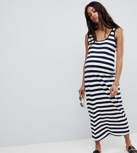 ASOS DESIGN Maternity ultimate maxi vest dress in stripe - Navy/white
