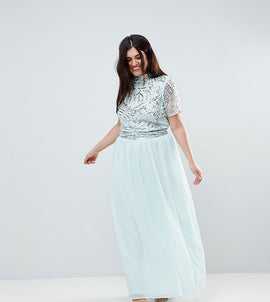 Frock And Frill Plus Premium Embellished Top Maxi Dress - Duckegg