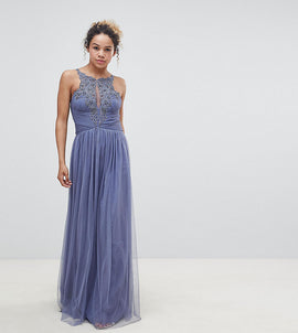 Little Mistress Petite Floral Applique Maxi Dress - Lavender grey