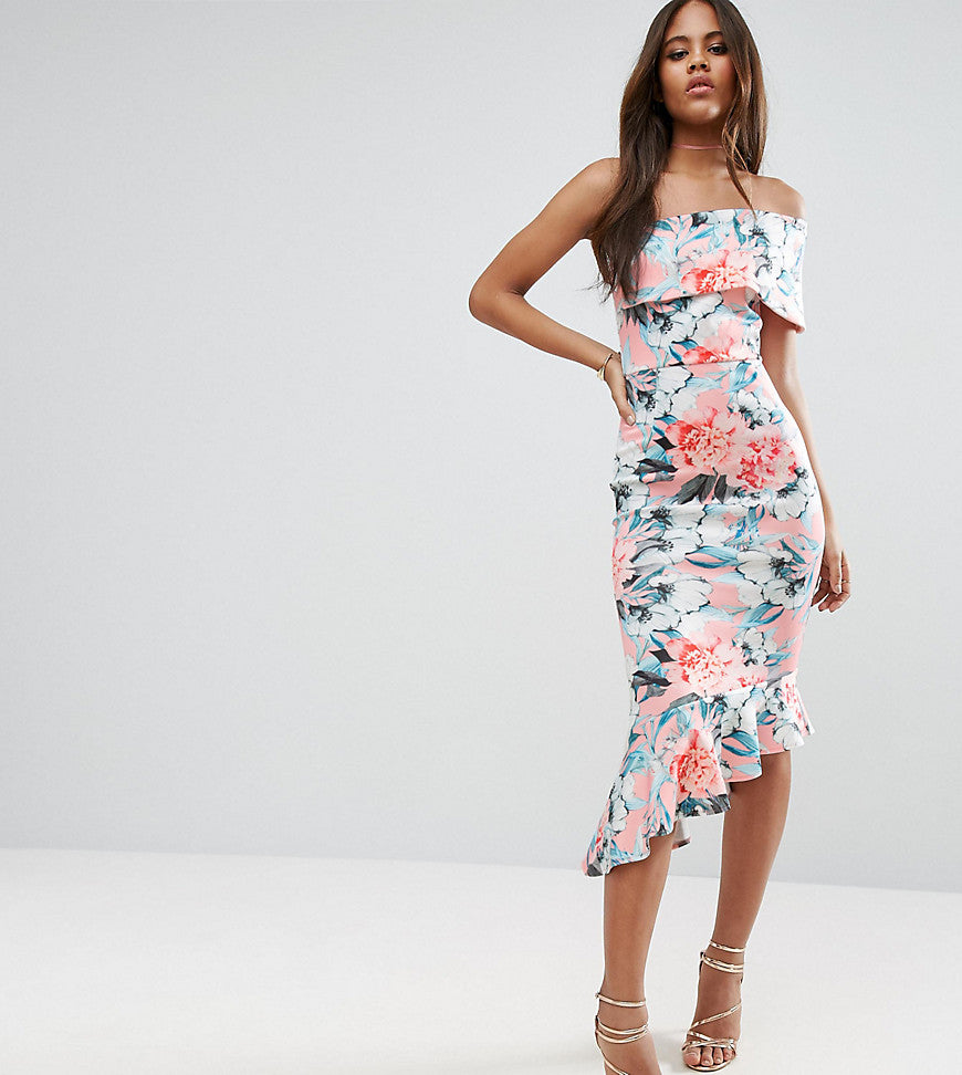 ASOS TALL Floral Scuba One Shoulder Pephem Midi Dress - Pink