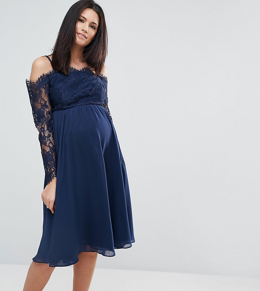 ASOS Maternity Occasion Cold Shoulder Lace Midi Dress - Navy