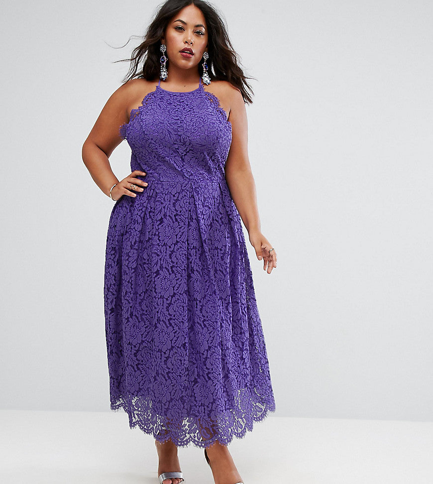 ASOS CURVE Lace Pinny Scallop Edge Prom Midi Dress - Purple