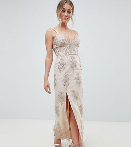 Chi Chi London Petite Scalloped Plunge Maxi Prom Dress with Gold Embroidery - Nude/gold