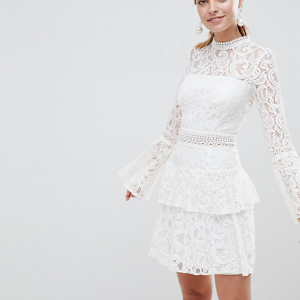 John Zack Petite Allover Lace Mini Dress With Crochet Waist Trim - White