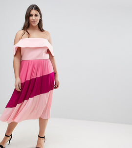 ASOS CURVE Scuba Bardot Colourblock Pleated Midi Dress - Pink/purple