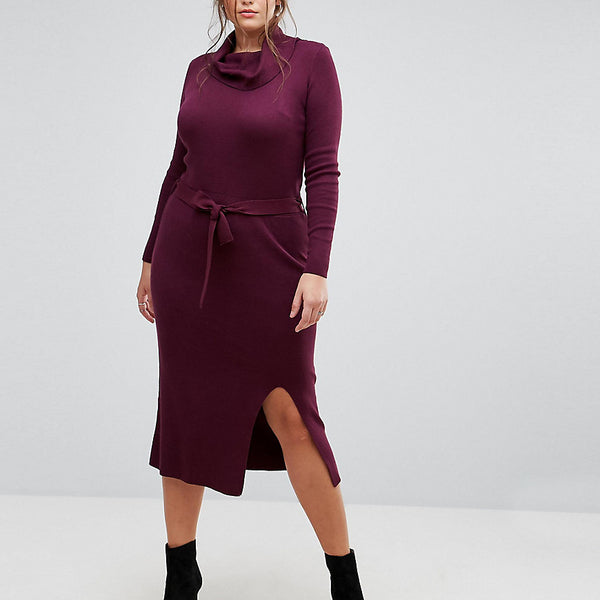 Simply Be Knitted Dress With Tie Waist - Blackcurrent