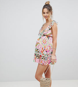 ASOS Maternity New Retro Print Pom Pom Tiered Beach Sundress - New retro