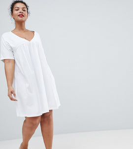 ASOS DESIGN Curve ultimate cotton smock dress - White