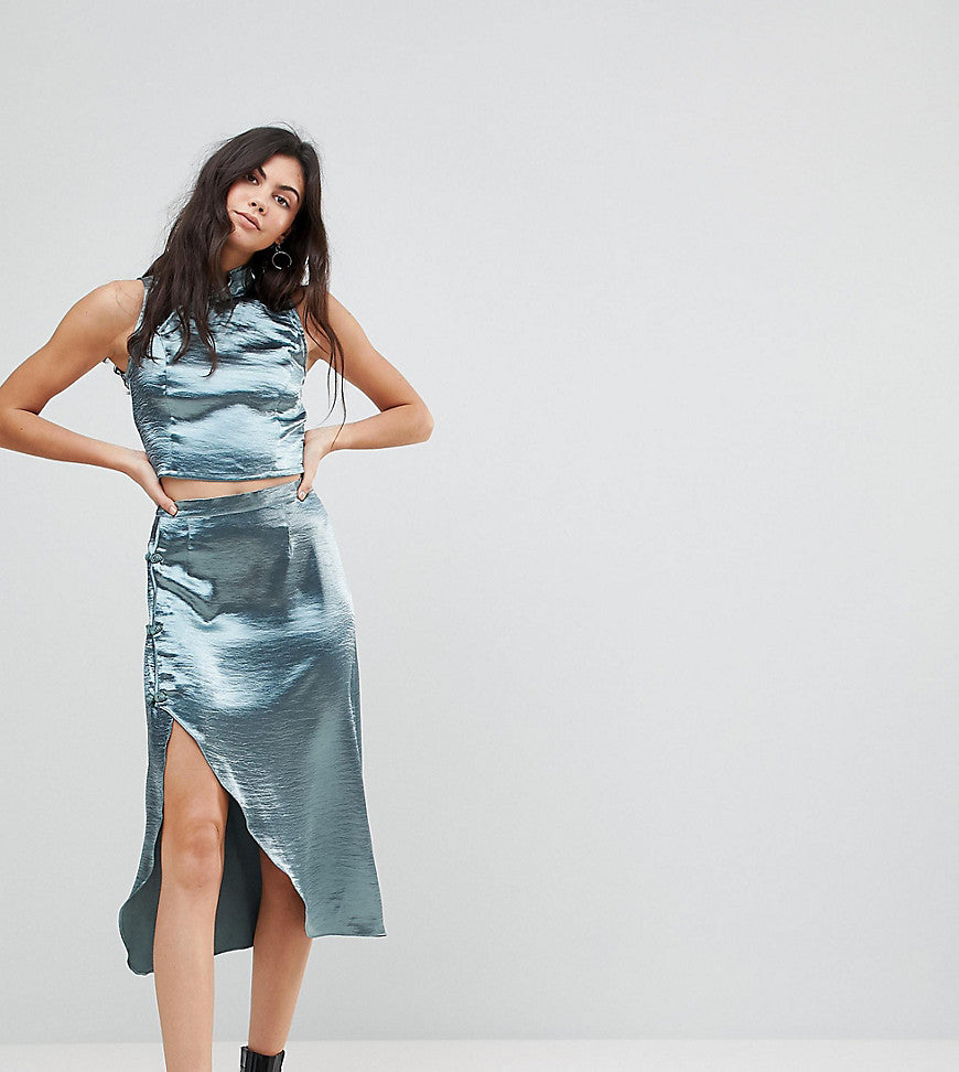 Glamorous Tall Wrap Front Midi Skirt In Satin Co-Ord - Blue