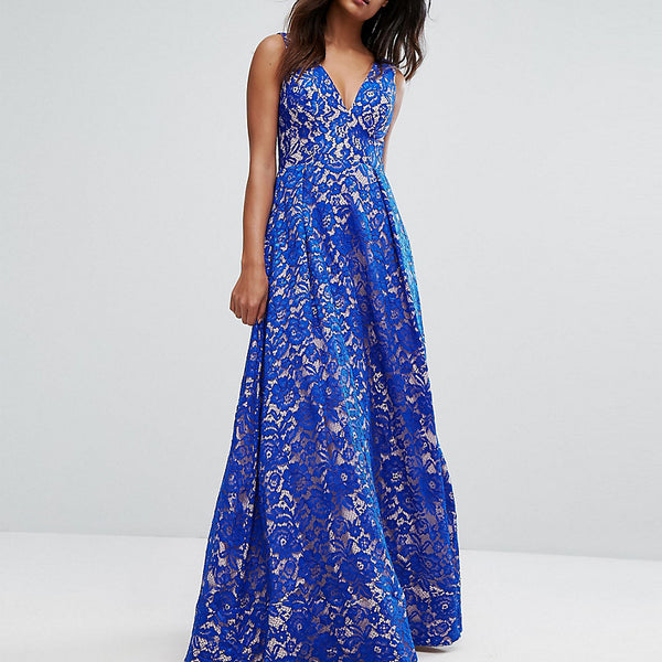 Bariano Plunge Full Maxi Dress In All Over Lace - Cobalt/nude