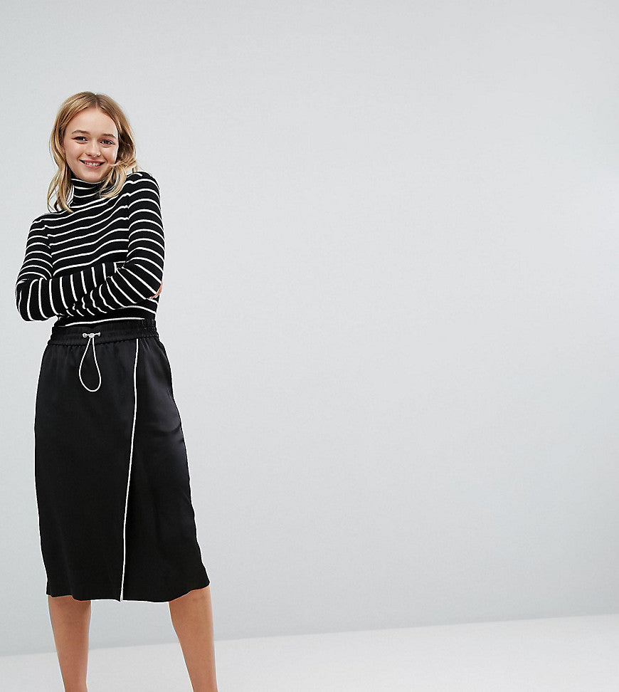 Monki Aysemetric Contrast Midi Skirt - Black